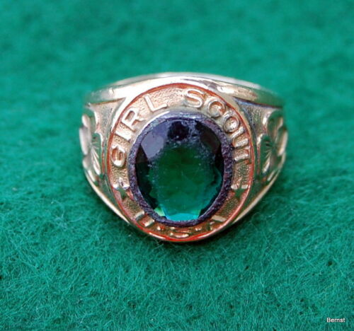 VINTAGE GIRL SCOUT - GREEN STONE 10k GF RING