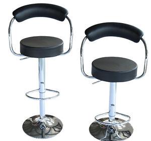 2 Round Pub Bar Stools PU Leather Adjustable Black 5550-3427BK