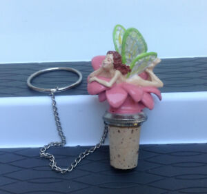 Pewter Little Fairy  Cork Wine Bottle Stopper with Chain