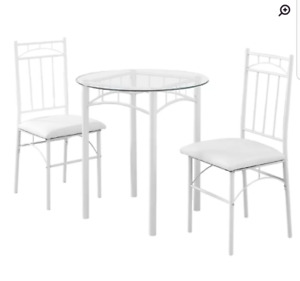 3 Piece White Bistro Set - Table & Chairs