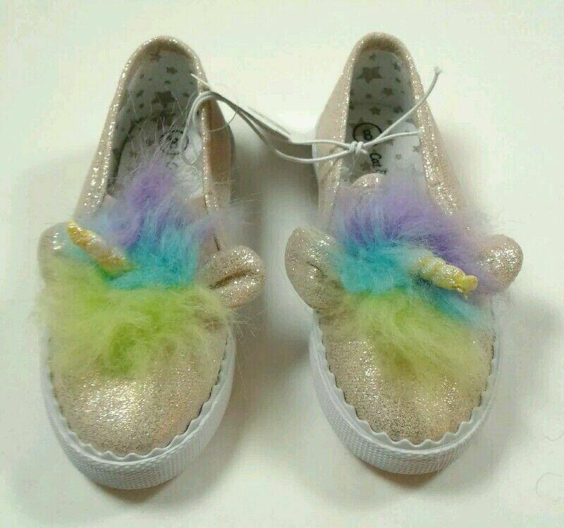 Cat & Jack Girl Toddler Slip On Unicorn Sneakers Glittery Go