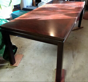 Dark Stained Wood Table and Round Solid Pine Table