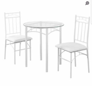 Brand New in a Box 3 Piece Bistro Glass Table and Chairs Set