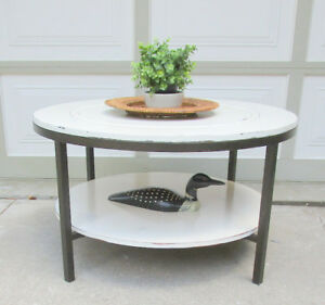 MODERN WOOD/METAL SHABBY CHIC ROUND COFFEE TABLE