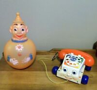 Vintage Roly Poly Clown & Fisher Price Telephone