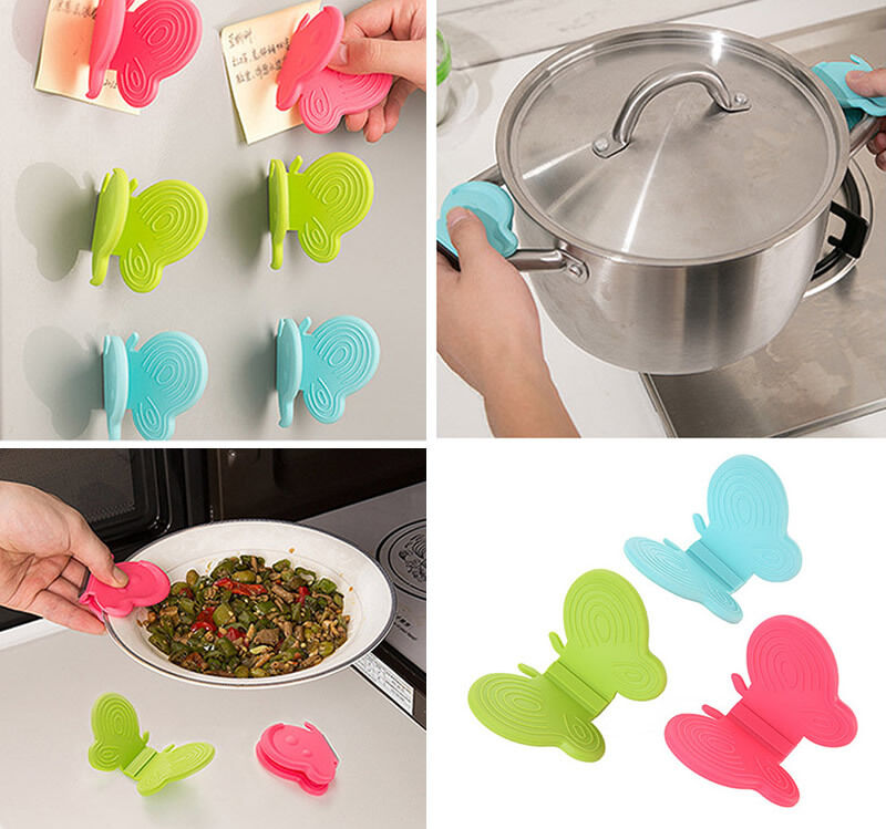 Home Convenient Butterfly Shaped Silicone Antiscald Devices Kitchen Useful Tool
