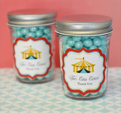 24 Personalized Circus Carnival Theme Mini Mason Jars Birthday Party Favors - Circus Themed Favors