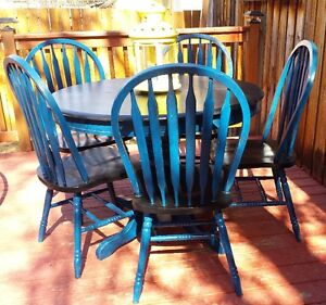 Solid Wood Dining Table Ebony and Teal
