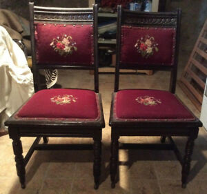 ANTIQUE WOODEN HAND CARVED HIGH BACK CHAIRS, EARLY 1900'S.