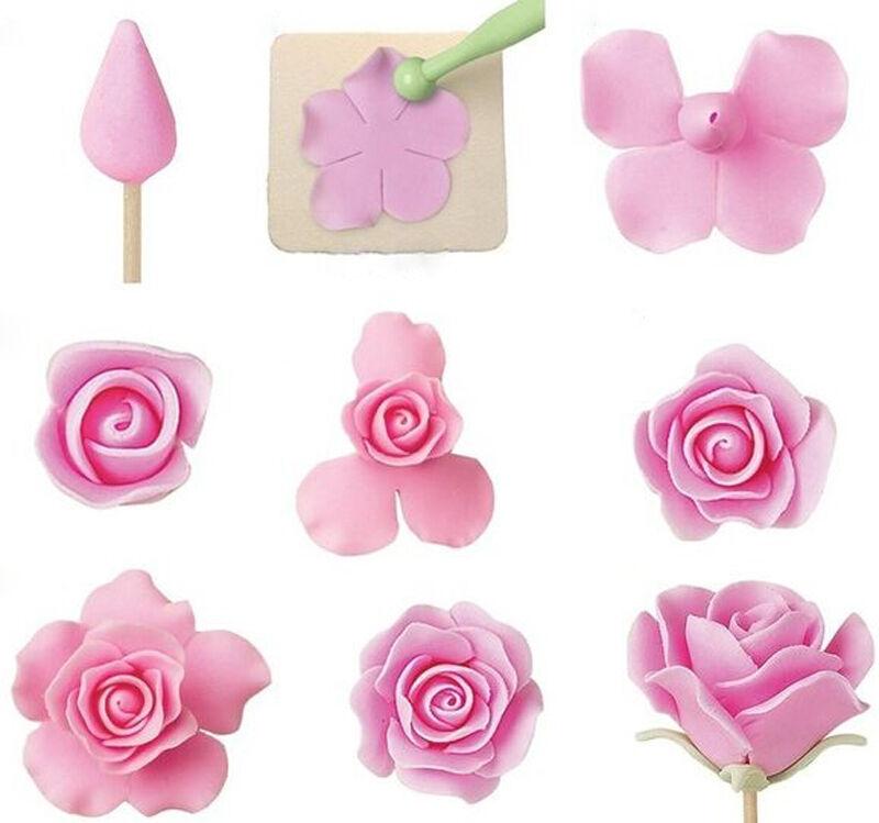 Цветы розы из мастики пошагово