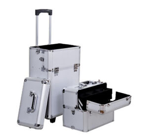 Makeup Rolling Case / Hairstyling Case /Silver Professional Case