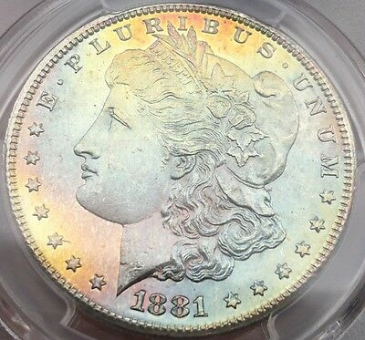 1881 S   MORGAN SILVER DOLLAR   MS 65 SEMIPL   COLORFUL PASTEL RAINBOW TONING