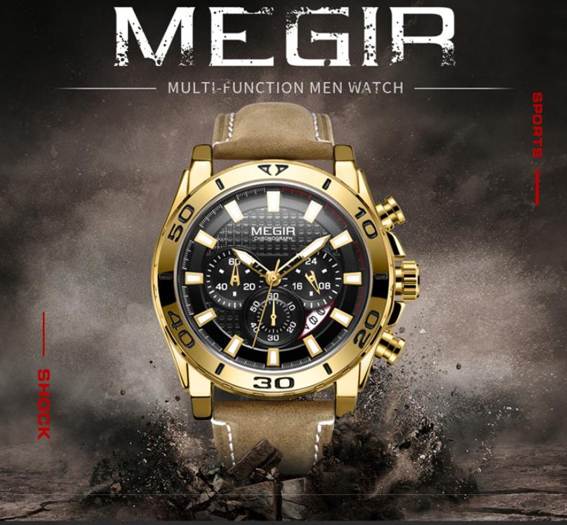 MEGIR Men's Sport Leather Watches Military Chronograph Analo