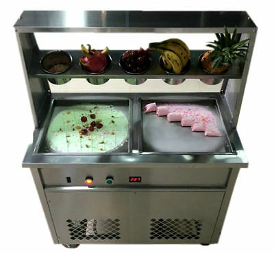 Double Fry Pan Electric Thai Fried Ice Cream Yogurt Roll Maker Machine