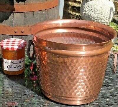 French VINTAGE copper CHAMPAGNE BUCKET VILLEDIEU WINE COOLER
