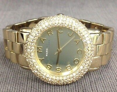 MARC JACOBS MBM3191 Glitz Yellow Gold Tone Crystal Encrusted Mirrored Dial Watch