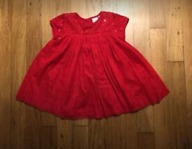 Red Blue Zoo Christmas dress 3-6 months