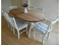 Beautiful Shabby Chic Solid Pine 6ft Dining Table and 6 Chairs