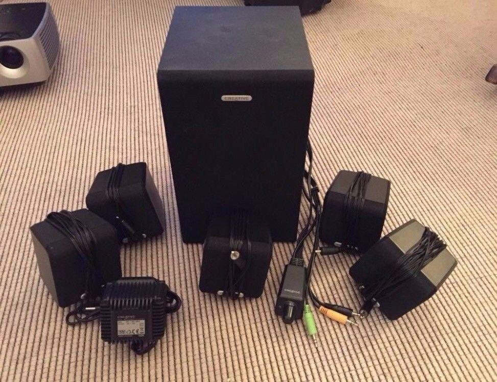 Creative 5 1 Surround Sound Inc Sub Woofer Pc Mac
