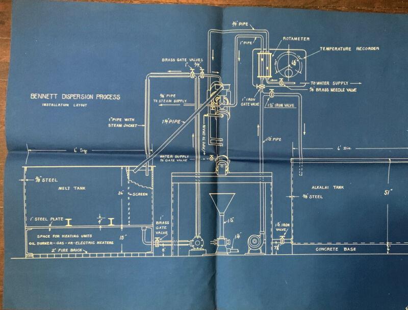 "23"" X 17"" Art Poster Blue Print Drawing-Bennett Dispersion Process-Installation"