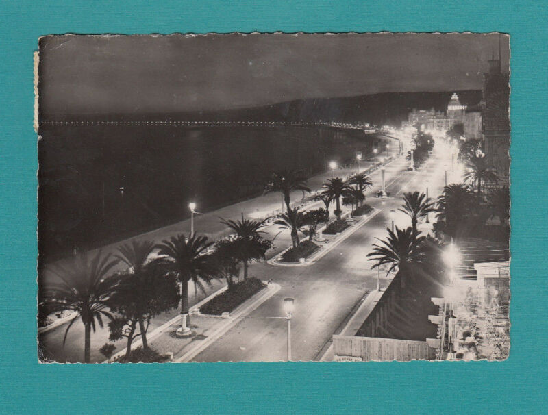 FRANCE NICE La Promenade Effet De nuit Real Photo postcard Le Baie Des Anges