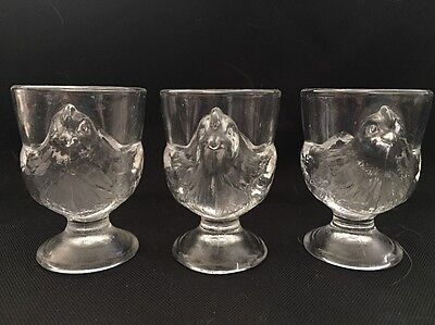 Set Of 3 Vintage France Glass Footed Chicken Hen Egg Cup Holders