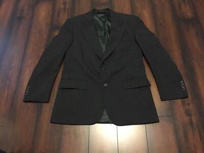 Jos A Bank Custom Fit 100% Wool Charcoal Gray Windowpane Men's Blazer Sz 42R