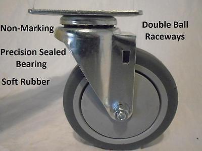 5 X 1-14 Swivel Caster Thermoplastic Soft Rubber Non-marking Wheel 300lb