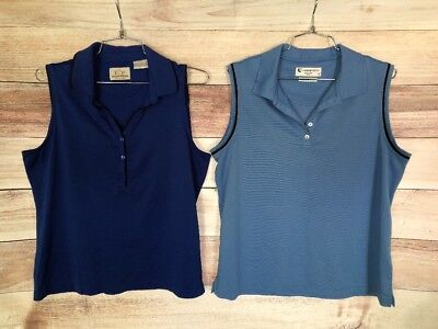 EP Pro & Links Tech Women's Blue Shirts Sz L Sleeveless Golf Polo Lot Of 2 (Ep Pro Golf Shirts)