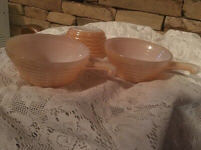 "Vintage Fire King 3 Peach Luster Glow bowls with handles.Collectible 4.5"" AH"