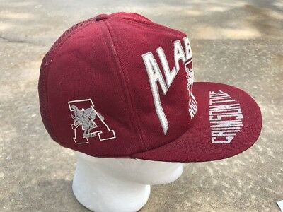Vintage 80's HUGE LOGO Alabama Crimson Tide Roll Tide 2 Color Mesh men's hat cap - Roll Tide Colors