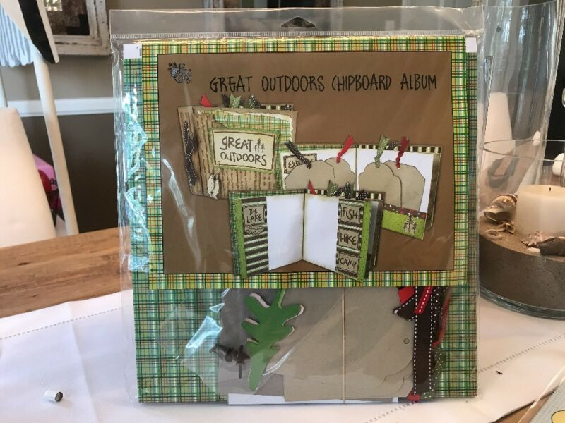 NEW  COMPLETE GREAT OUTDOORS CHIPBOARD ALBUM WITH EMBELLISHMENTS !!!!
