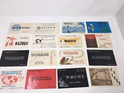 LOT 12 VINTAGE shortwave ham radio QSL cards postcards NY, OK, Colorado, Texas