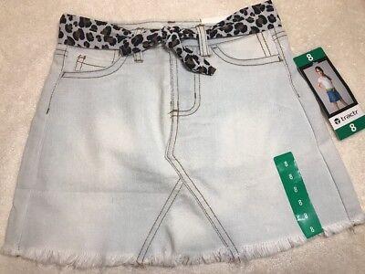 Tractr Girls' Light Wash Denim Jean Skirt Skort w/ Leopard Belt 7 8 10 12