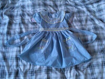 Mädchen Kleid 2-6 Jahre Größe XL Blau Blumen Bauernkleid Taschen Süß