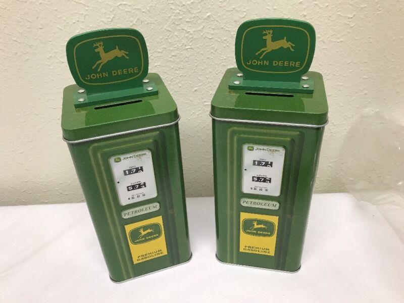2 John Deere Gas Pump Tin Coin Bank Pair Of JD Petroleum Gas BANKS