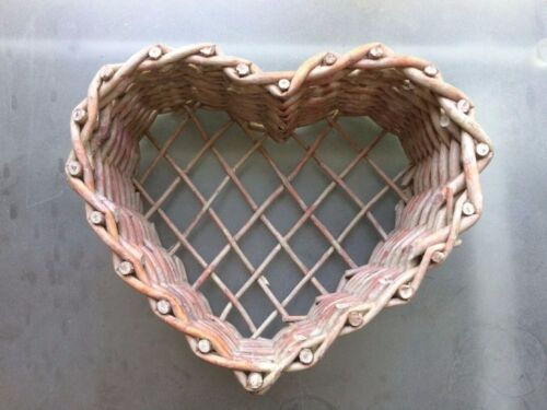 Primitive Decor Heart Shaped Woven Stick Twig Shelf/Wall Hanging Basket Sturdy