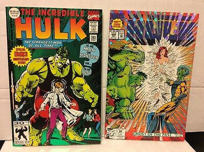 (A Set Of 2 Comics: The Incredible Hulk #393, Special 30th Anniv. Mint 1992, #400)