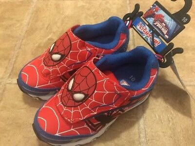 New Ultimate Spiderman Light Up Boys 10 M Red & Blue Design Hook & Loop Sneakers - Spiderman Light Up Sneakers