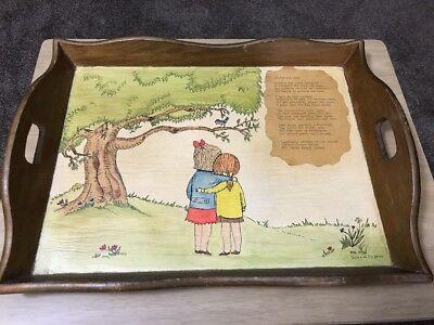 Vintage Wooden Romantic Poem Decorative Serving Tray w/ Handles  LARGE 16x11 1/2