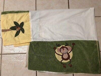 Tigers Dust Ruffle (NoJo Jungle Green Yellow Crib Skirt Dust Ruffle Unisex Giraffe Monkey Tiger)