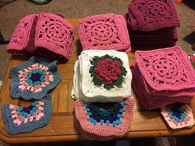 Lot Of Over 60 Pieces, Vintage Handmade Granny Squares Afghan Crocheted Pieces