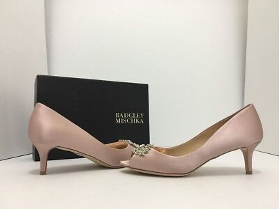 Badgley Mischka Layla Blush Satin Women's Evening Peep Toe Heels Pumps 6.5 M Blush Satin Schuhe