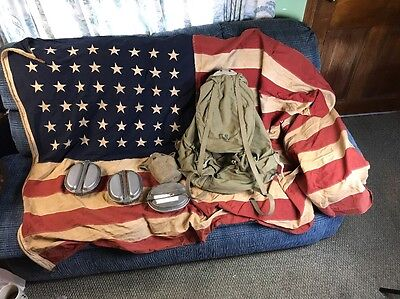48 Star Flag Wwii Ww2 1942 Us Army Back Pack Haversack Steel Frame Meese Mess