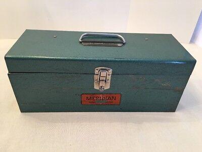 Rare Vintage 1960s Meridian Distributors Metal Fishing Tackle Tool Box Chicago