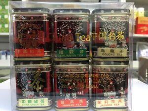 SMALL Gift Set Of 6 tea china Black,Tikuanyin oolong,green,Puer,Jasmine UKSELLER