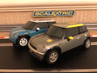 Scalextric Rare Mini Cooper E Electric C3175 & C2992 Fully Serviced & New Braids