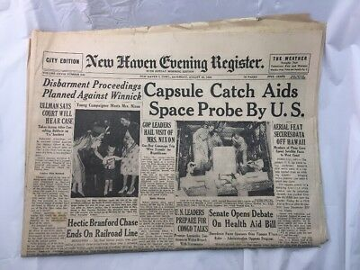 New Haven Evening Register Newspaper Connecticut Vintage Old August 20 1960