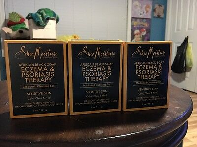 3 Shea Moisture African Black Soap Eczema & Psoriasis Therapy