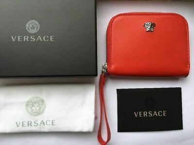VERSACE Wallet Leather Zipped Pouch Medusa Logo Silver Hardware RRP £290